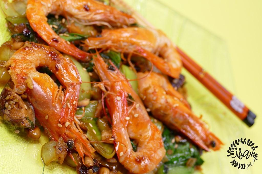 Crevettes & Pak choi sautés au wok