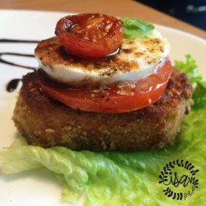 Pain perdu, tomate/mozzarella selon Conticini