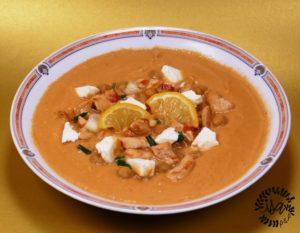 Soupe grecque poulet, pois chiches, féta