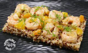 Crevettes citron confit/aneth par C.Lignac
