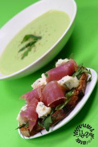 Velouté de brocolis, tartines jambon cru/gorgonzola