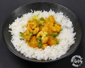 Curry de crevettes et mangue