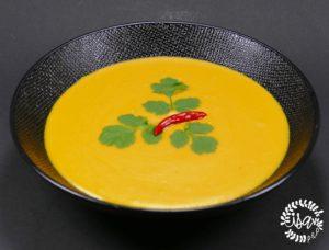 Crème de lentilles corail au jus de carotte et cumin