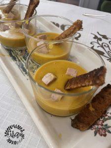 Verrine de potimarron aux épices et foie-gras