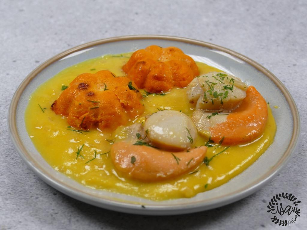 Saint-Jacques et flan de citrouille à l'orange