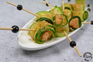 Bouchées de saumon teriyaki et courgettes